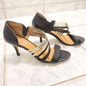 Women sandals gold black size 39 or size 8.5
